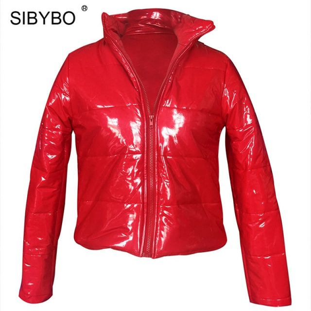 Sibybo PU Leather Slim Winter Sexy Women Coats and Jackets Long Sleeve Stand Collar Thicker Jacket Women Casual Crop Top Women