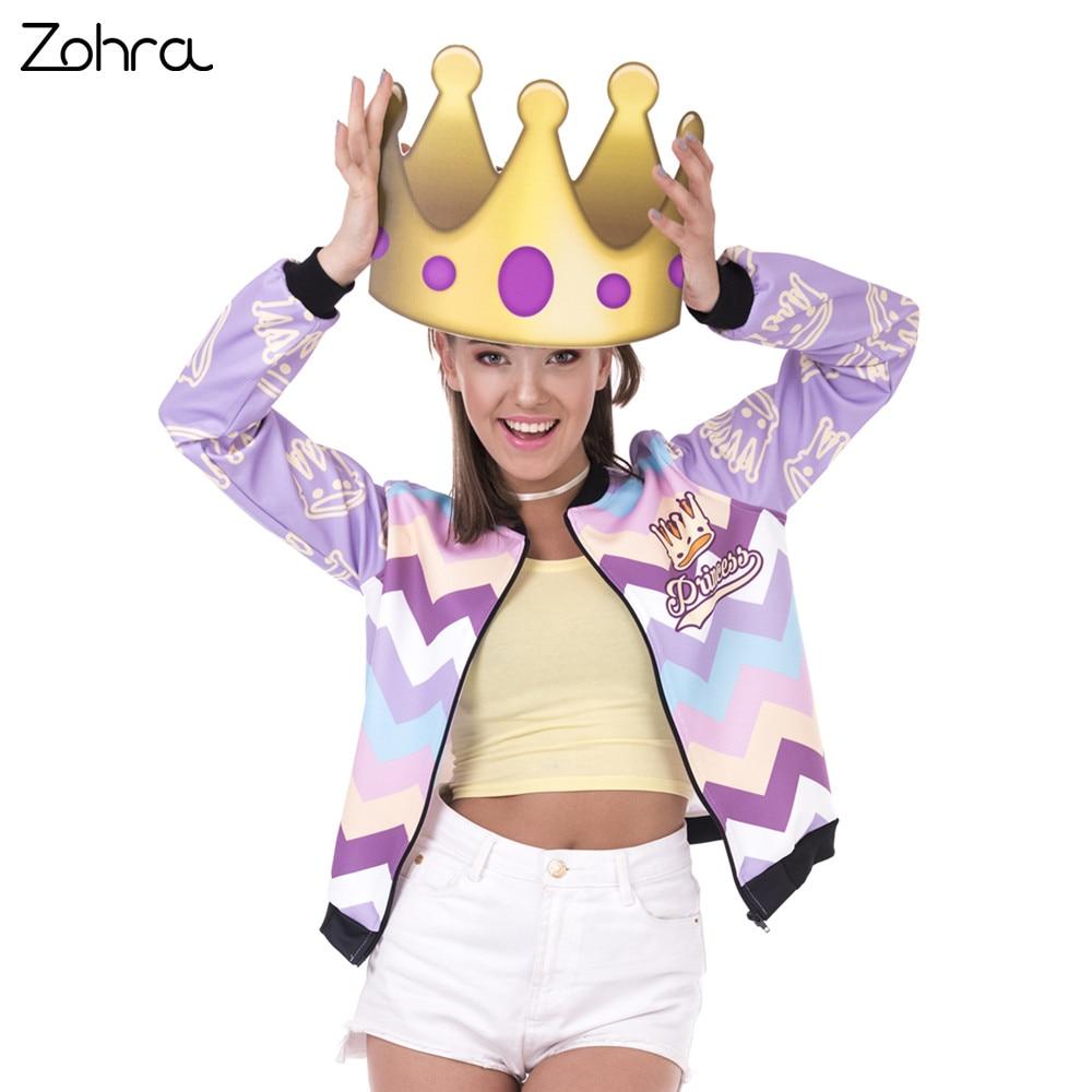 Zohra New Spring Women Bomber Jacket Princess Zyg Zag Printing Jaqueta Feminina  Fashion Sexy Slim Basic Jacket for Woman