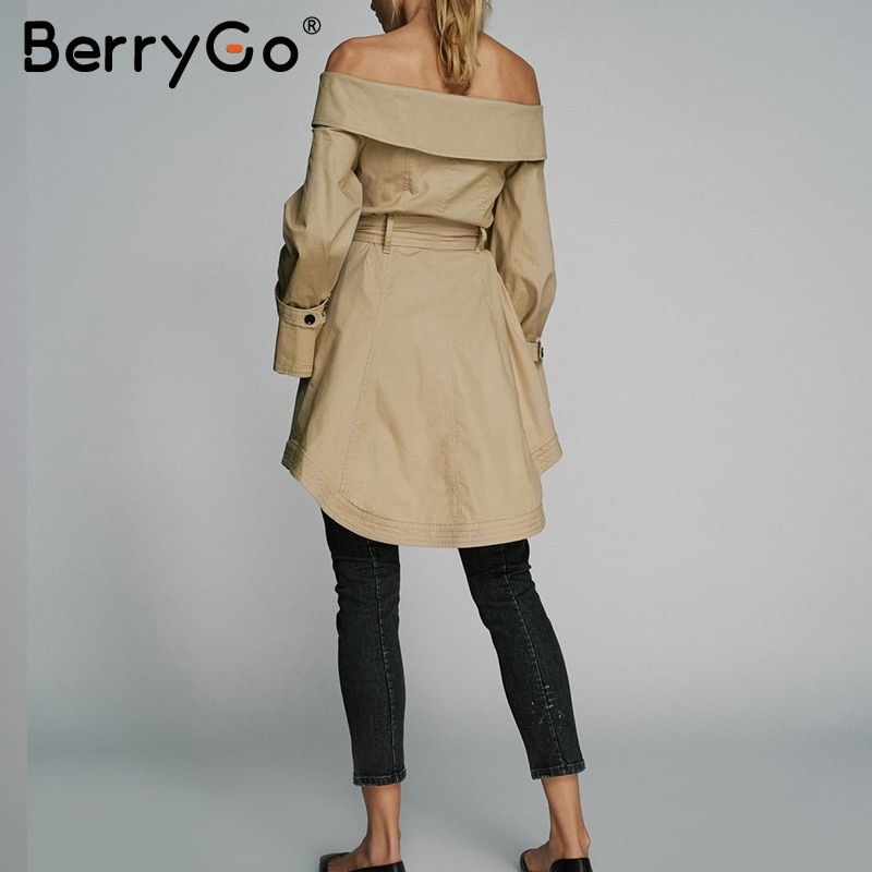 BerryGo Off shoulder sexy trench coats women High waist sashes khaki overcoat autumn 2018 Casual pocket outerwear coats female