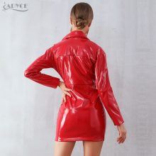 Adyce 2019 New Spring Women Slim Leather Trench Coats Sexy Red V Neck Celebrity Party Coats Long Sleeve Mini Fashion Club Coats