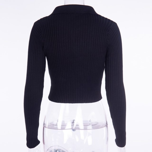 Hugcitar cotton long sleeve collar zipper sexy knitted crop tops 2018 autumn winter women fahsion coat jacket