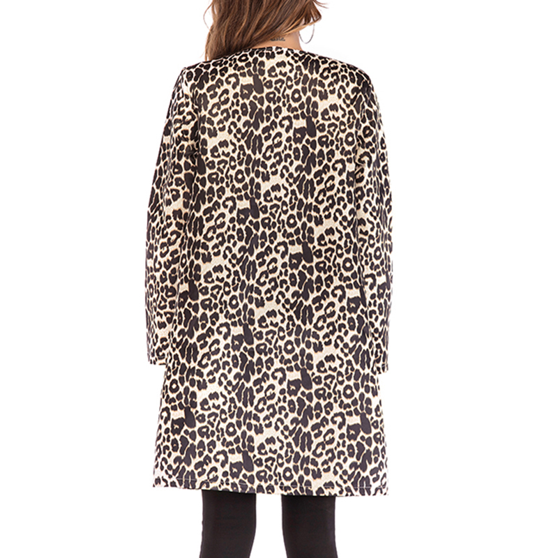 Women Leopard Print Sexy elegant pocket party club casual streetwear Autumn Winter Warm Wind Coat Cardigan Long Overcoat Outwear