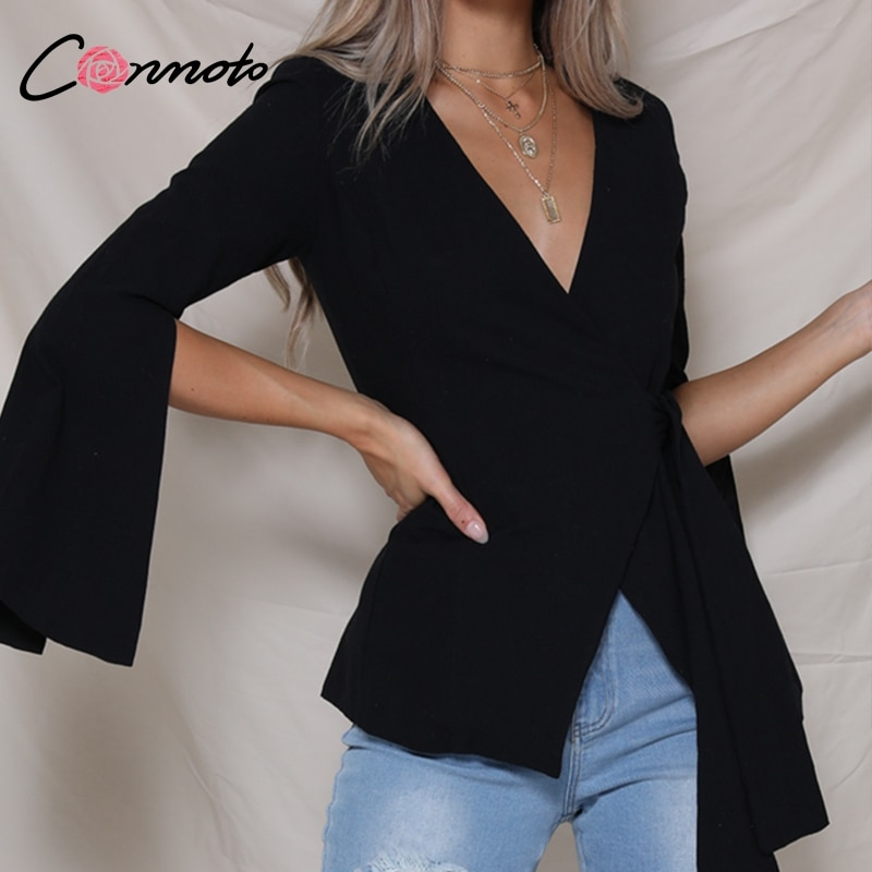 Conmoto Chic Split Autumn 2018 Solid White Coat Women Shirt Casual OL Ladies Coat Elegant Bow Crossover Bottom Wrap Sexy Coat