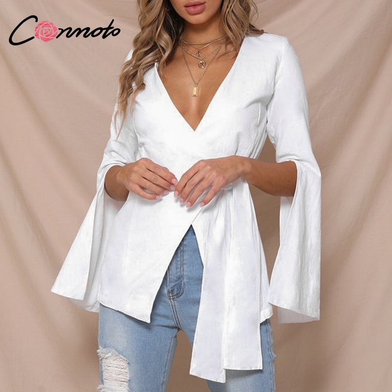 Conmoto Chic Split Autumn 2018 Solid White Coat Women Shirt Casual OL Ladies Coat Elegant Bow Crossover Bottom Wrap Sexy Coat