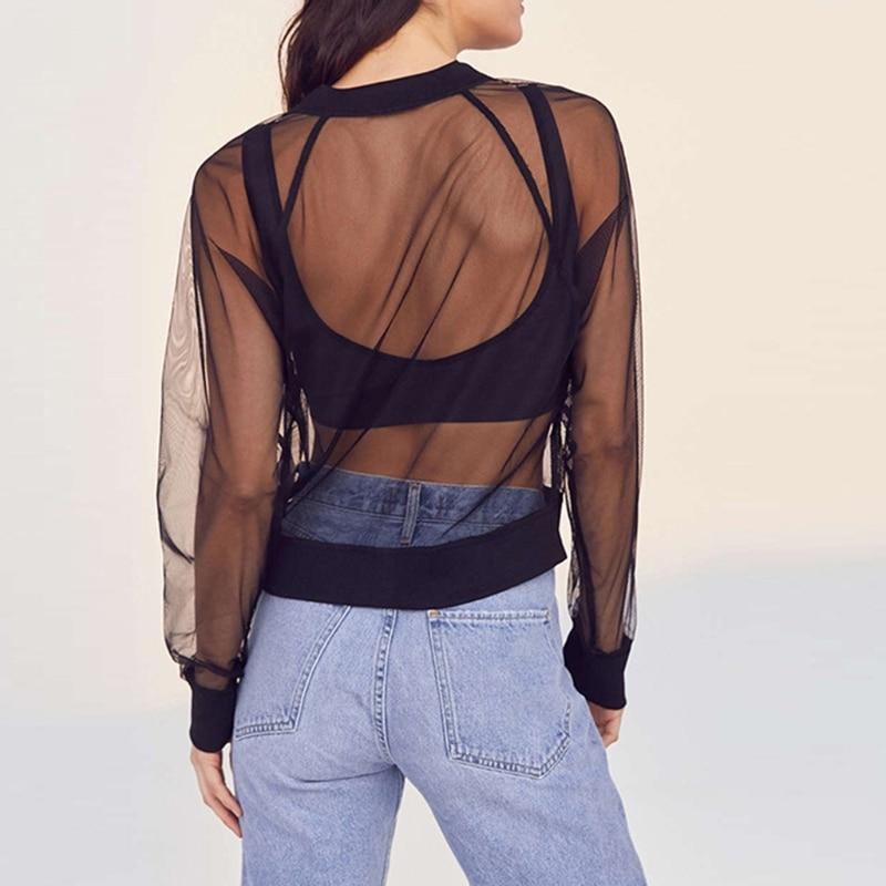 KLV Sexy Transparent Mesh Sheer Jackets 2017 Summer Thin Long Sleeve Brief Outwears Women Coat Zipper Beachwear Coats