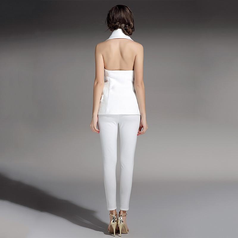 KoHuiJoo Summer Women Fashion Halter Vest High Quality Double Breasted Sexy Backless Sleeveless Jacket Female Style Waistcoat