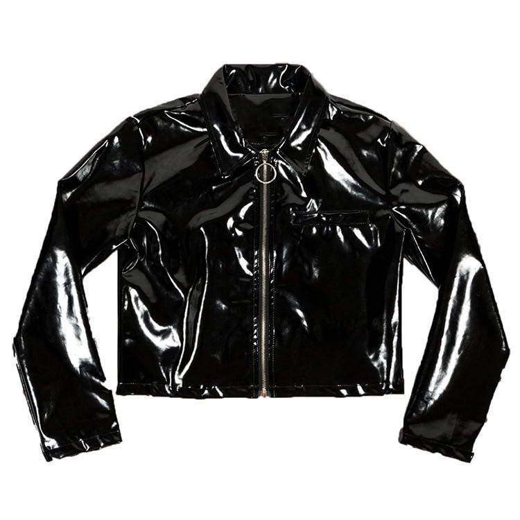 Punk Rock Women's Pu Leather Jacket Harajuku Round Circle Zipper Short Jacket Female Slim Outerwear