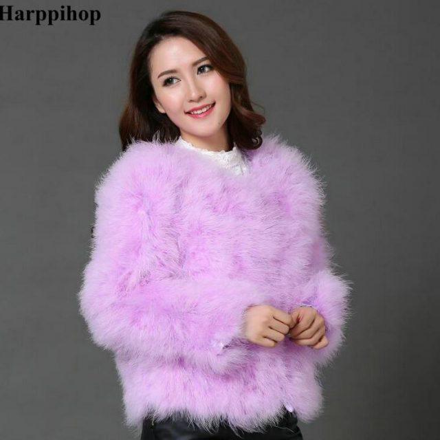 Harppihop 13 colors fashion sexy Ostrich wool turkey fur women coat feather short plus size jacket winter festival long sleeve