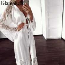 Glamaker Lace chiffon splice patchwork outerwear Women sexy floor-length home wear spring female long sleeve black home clothes