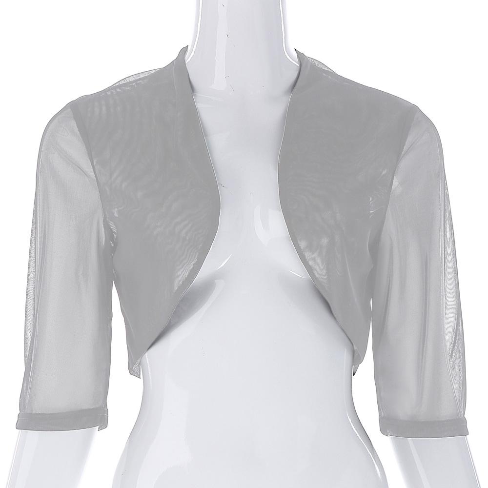 Woman Cropped Shrug Outerwear 2017 Sexy See through Half Sleeve Bolero Summer Open Stitch Slim Women Jacket Casual Basic Coat