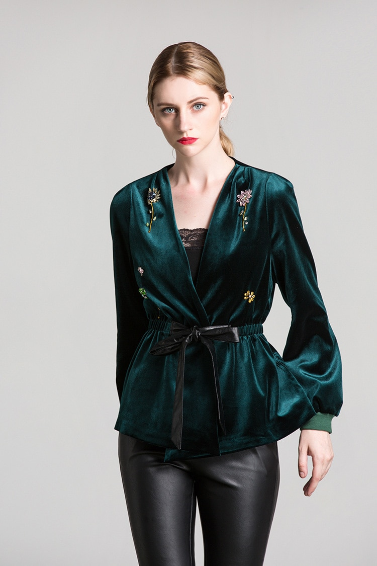 New Arrival 2019 Spring Women's Sexy V Neck Long Sleeves Beaded Lace Up Belt Fashion Velour Blouse Jackets