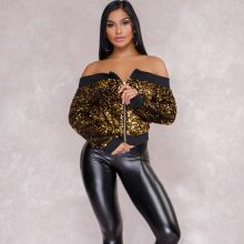 2018 Autumn Fashion Sexy Sequined Jacket Women Long Sleeve Off Shoulder Zippers Coats Casual Outerwear Club Short Bomber Jackets