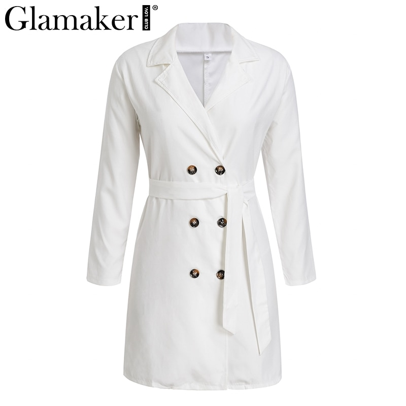 Glamaker Sexy deep v neck white female coat Women elegant button belt party daily long trench Autumn fashion casual outwear new