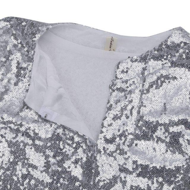 Sparkly Sexy Women Sequin Cardigan Jacket Coat Long Sleeve Short Cropped Bolero Shrug Clubwear Vintage Party Costumes