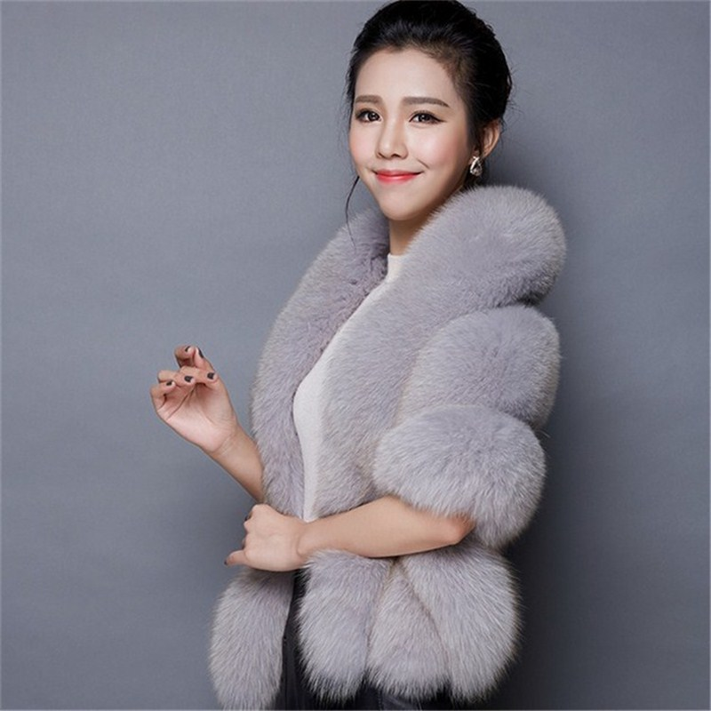high quality Winter Faux Fur Coats luxury fox fur imitation mink fur poncho bridal wedding dress shawl cape women vest fur coat