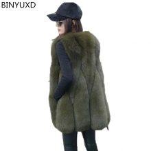 BINYUXD New Arrival quality 2018 fashionable jacket Winter Warm Fashion brand Women Faux Fur Vest Faux Fur Coat Fox Fur Vest