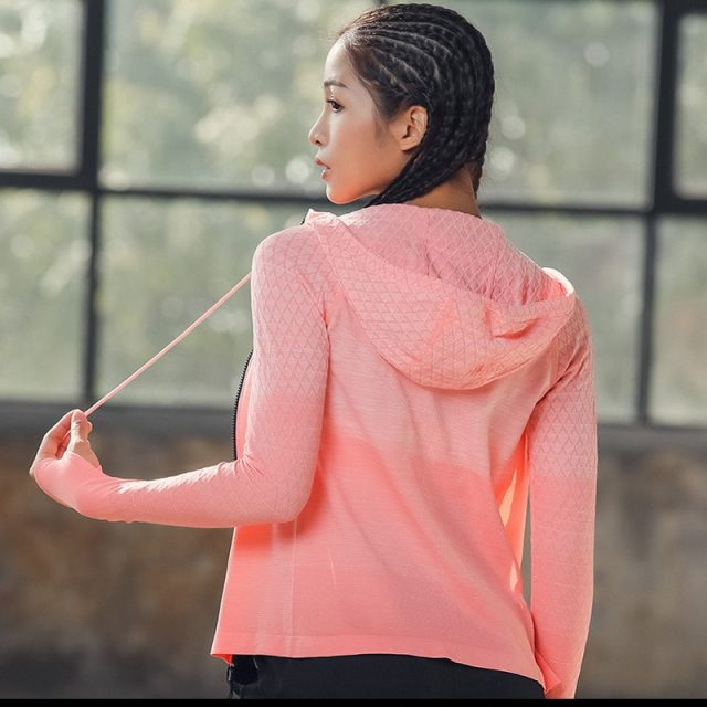HEYJOE New Women Hooded Running Shirts  Breathable Sportswear Fitness Top Sports Clothing Workout Sports  Gym Jacket Tops