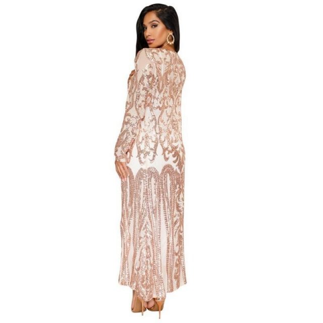 New Gold Sequins Sexy Long Cardigan Elegant Casual Women Full Sleeve Mesh See Through Coat Open Stitch Feminino Ouro Lantejoula