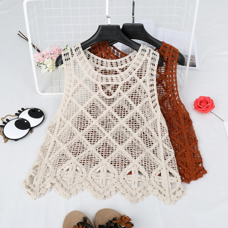 CHICEVER 2018 Spring Knitted Sleeveless Female Vest For Women Top Hollow O neck Sexy Women's Vests Clothes Fashion Casual New