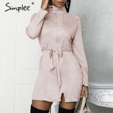 Simplee Sexy sashes suede slim trench coat women Stand collar zipper trench dress Autumn winter lady casual outwear overcoat