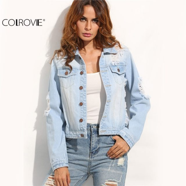 COLROVIE Women's Long Sleeve Casual Coat  Blue Buttons Ripped Back Lapel Pockets Single Breasted Sexy Cut Out Denim Jacket