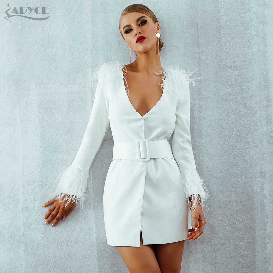 Adyce 2019 New Spring Women Trench Coats Casual Long Sleeve Sexy Deep V-Neck Feathers Slim Belt White Club Party Coats Vestidos