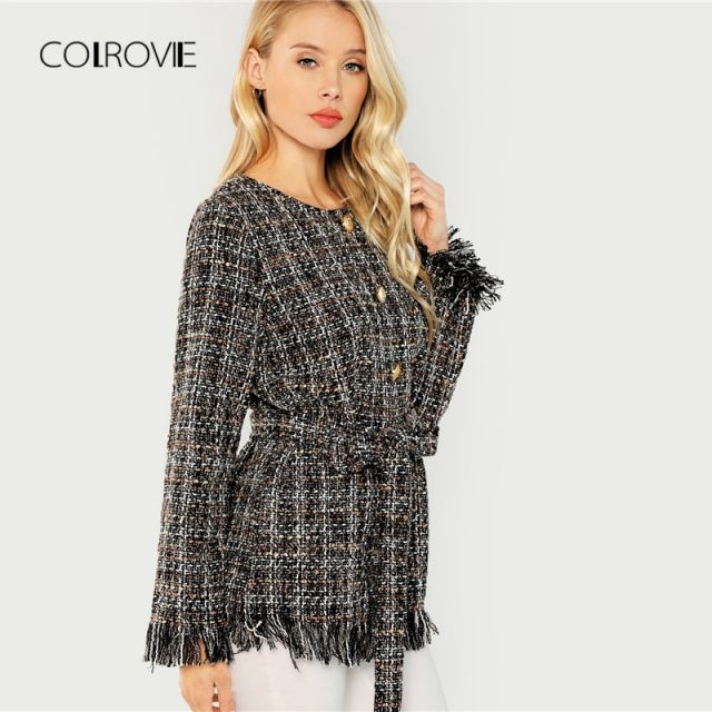 COLROVIE Belted Tweed Button Office Elegant Girl Coat Women 2018 Autumn Fashion Warm Winter Jacket Female Sexy Lady Outwear