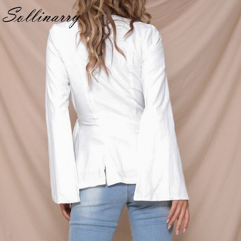 Sollinarry Chic Split Autumn Solid White Coat Elegant Bow Crossover Bottom Wrap Sexy Coat Women Shirt Casual OL Ladies Coat