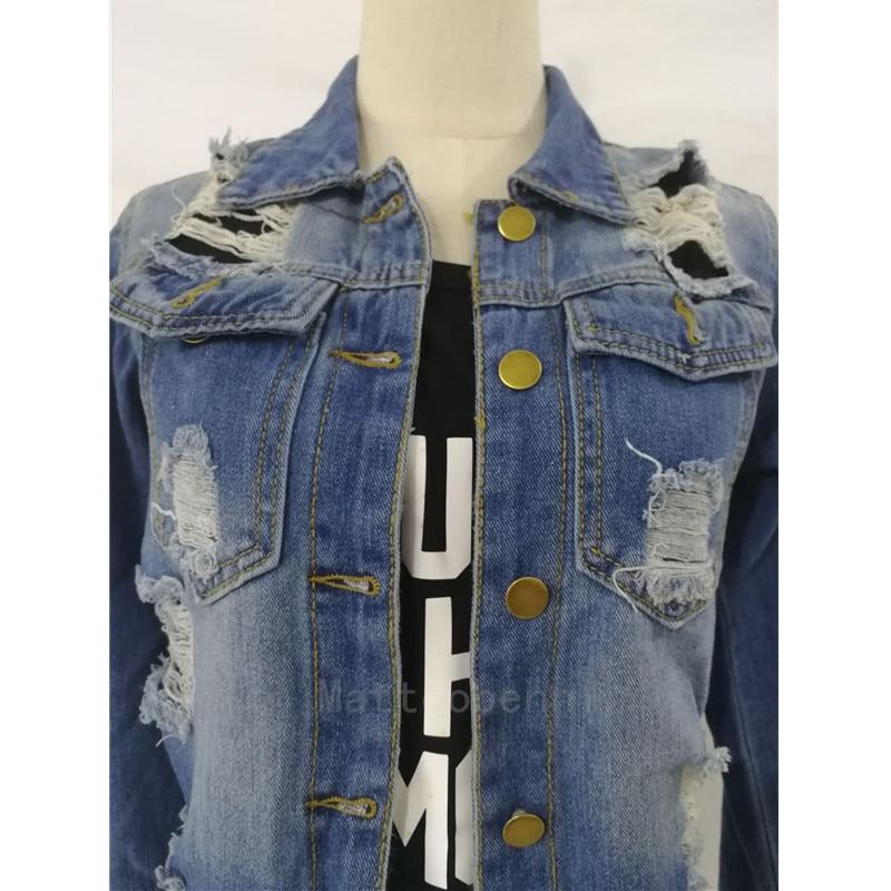 2018 Fashion Autumn Sexy Hole Tassel Female Demin Jeans Jacket Women Loose Long Jacket Outerwear Coat Casaco Feminino Streetwear