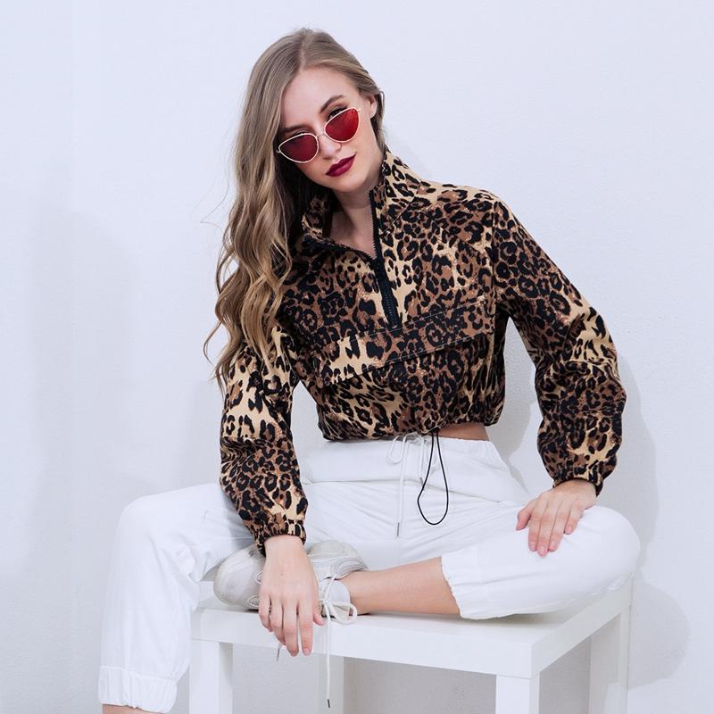 RICININA 2018 Zipper Sexy  Women Coats and Jackets Fashion Long Sleeve Leopard Casual Crop Top Women Casual Jacket Women