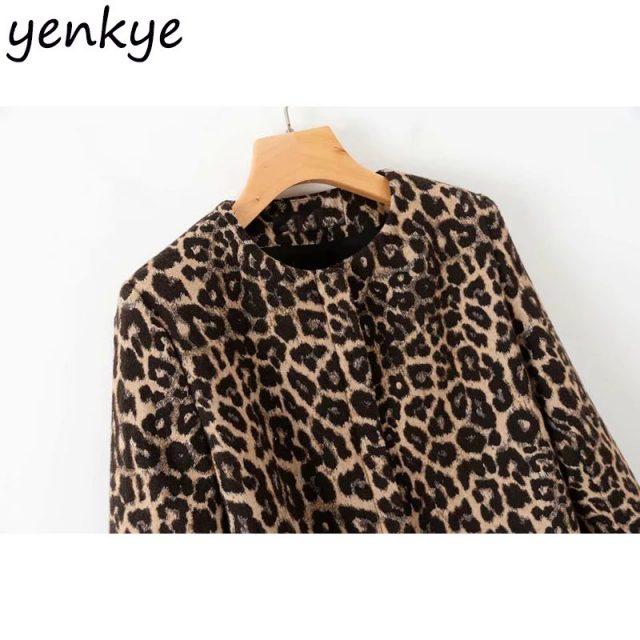 Vintage Women Sexy Jacquard Leopard Jacket Female O Neck Long Sleeve Zipper Plus Size Outerwear Autumn Coat Long XDWM1518