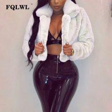 FQLWL Fluffy Faux Fur Coats Women Solid Furry Teddy Turn Down Collar Cropped Jacket Fur Female Overcoat Winter Warm Outerwear