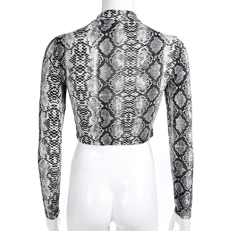 Women Sexy Cropped Jacket Snake Printed Zipper Sweatshirt 2019 Fashion Female Casual Turtleneck Slim Coat Long Sleeve Pullover