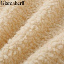 Glamaker White fur long sleeve teddy jacket coat Women winter fashion style warm fur coat feme plush coat fluffy casual faux fur
