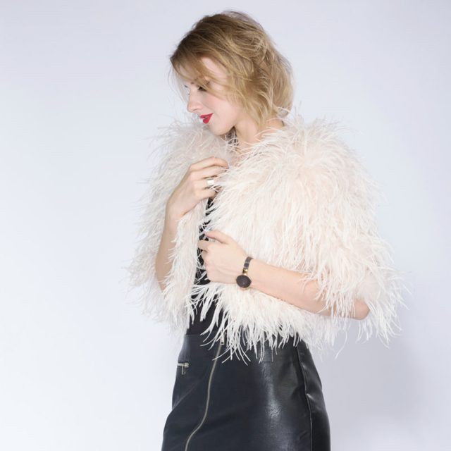 Hot  fashion sexy real ostrich  feathers women coat turkey wool short coat feather fur coat jacket retail / wholesale