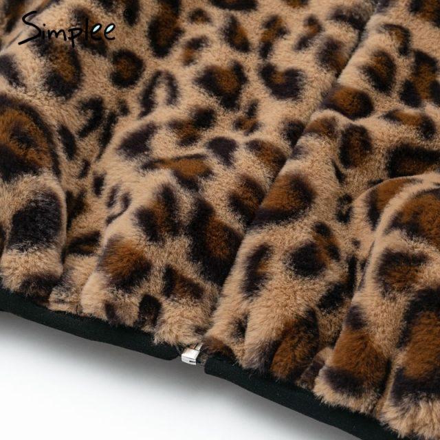 Simplee Sexy leopard furry faux fur women coats Zipper warm casual outwear 2018 Autumn winter luxury coat lady jacket coat