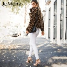 JaMerry Sexy leopard print parka overcoat women Fashion 2018 autumn soft warm faux fur coat Elegant plush casual outwear female