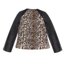 New Autumn Winter Sexy Women Fluffy Leopard Jacket Faux Fur PU Leather Splicing Lapel Long Sleeve Fashion Slim Coat Outerwear