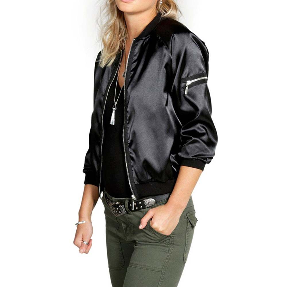 New Sexy Black Golden Zipper Satin Bomber Jacket Women Basic Coats Ladies Winter Coat Top Long Sleeve Wrap Surcoat Outwear S-XXL