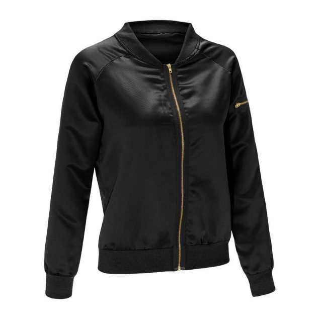 New Sexy Black Golden Zipper Satin Bomber Jacket Women Basic Coats Ladies Winter Coat Top Long Sleeve Wrap Surcoat Outwear S-XXL