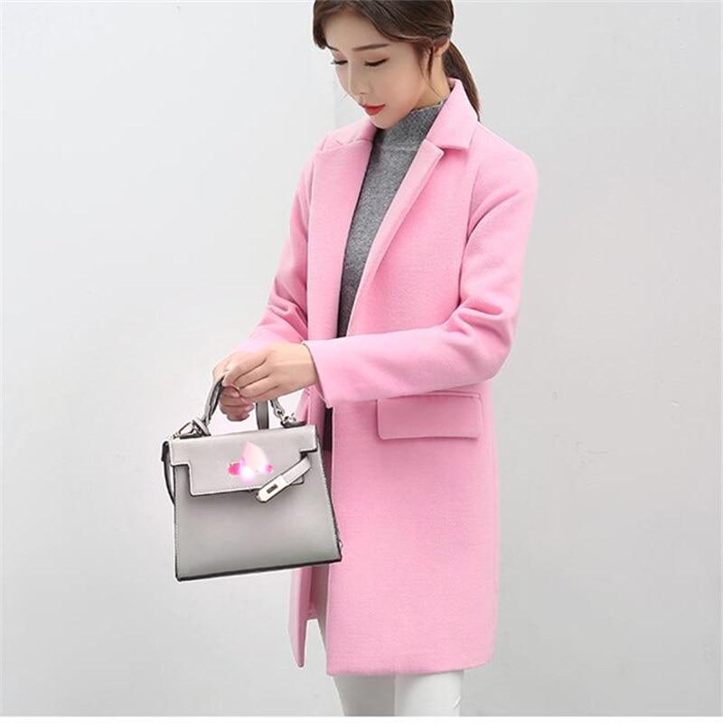 Long Woolen Coat Women Jacket Autumn Korean Pink Warm Faux Wool Jacket Outwear Women fashion Elegant Overcoat Female Winter Coat