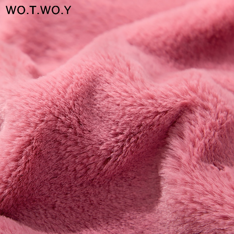 WOTWOY 2018 Autumn Winter Coat Women Thick Lambswool Teddy Cropped Jackets Women Pullovers White Pink Jacket Harajuku Outerwear