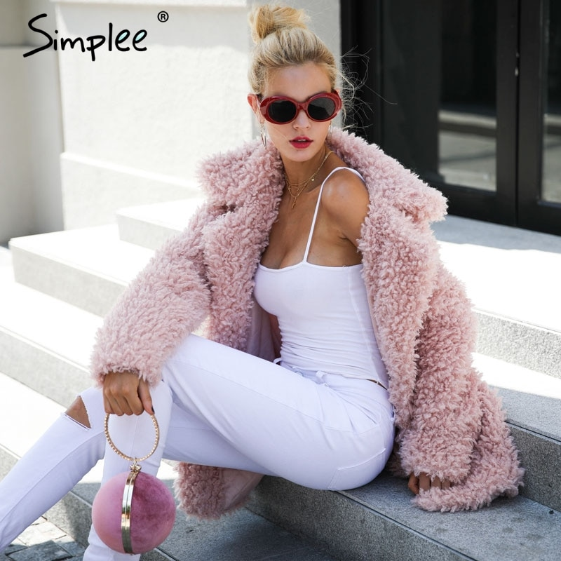 Simplee Warm winter faux fur coat women Fashion streetwear large sizes  long coat female 2018  Pink casual autumn coat outerwear