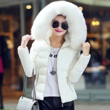 Women's Winter Jacket Short Down Jacket Slim Hooded Coat With Fur Female Thick Warm Cotton Padded Snow Wear Parka Pink White