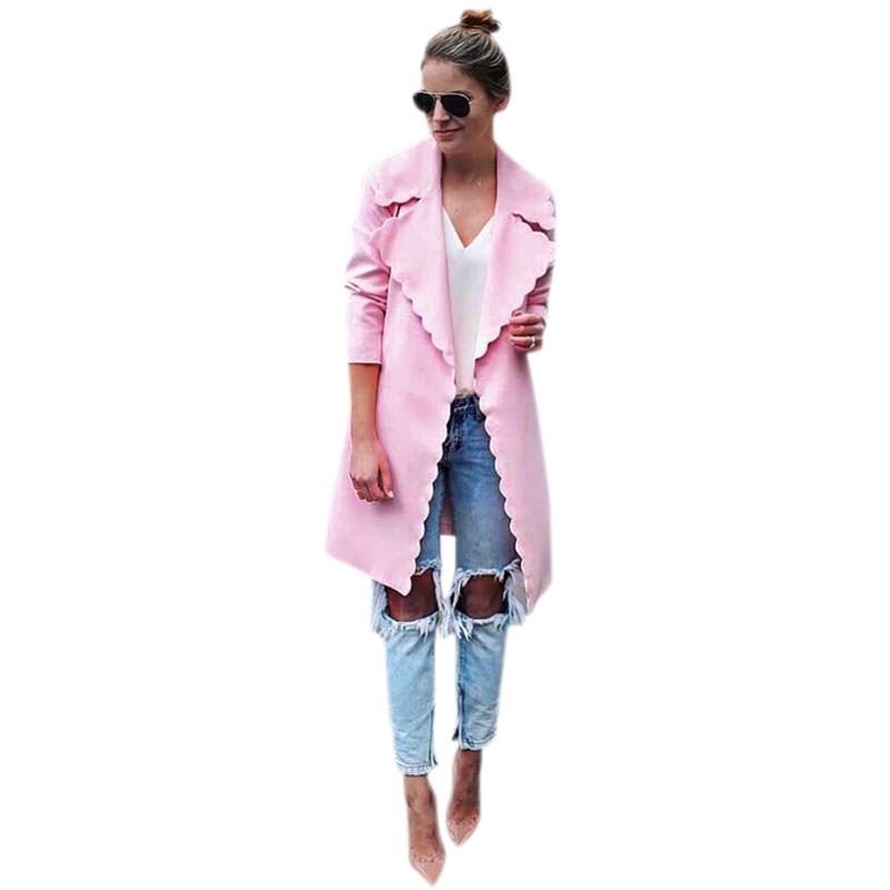 Women Fashion Sweet Wavy Edge Design Lapel Long Cardigan Coat Jacket Ladies Elegant Pink Long Sleeve Trench Coats Outwear Tops