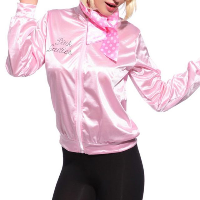*Women Basic Coats Solid Tracksuit for Women Jacket Ladies Retro Jacket Women Fancy Dress Grease Costume Pink new*