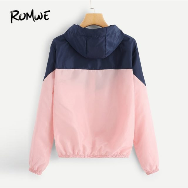 ROMWE Cut And Sew Zip Up Hooded Jacket 2019 Spring Autumn Streetwear Women Coats And Jackets Young Pink Drawstring Women Jacket