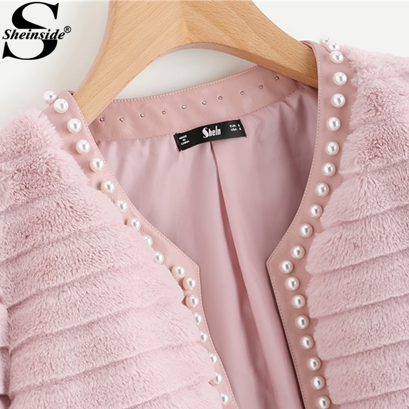 Sheinside Pink Pearl Beading Textured Faux Fur Coat Winter Collarless Cute Outerwear With Lining 2018 Womens Elegant Coats