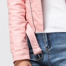Fitaylor 2019 Spring Autumn Women Faux Soft Leather Jacket Long Sleeve Pink Biker Coat Zipper Design Motorcycle PU Red Jacket