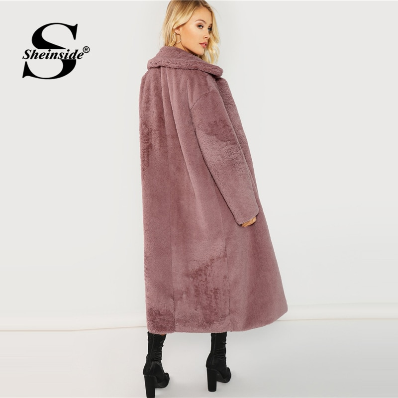 Sheinside Pink Open Front Faux Fur Teddy Coat Autumn Winter Clothes Women Jacket 2018 Elegant Outerwear Womens Plain Long Coats